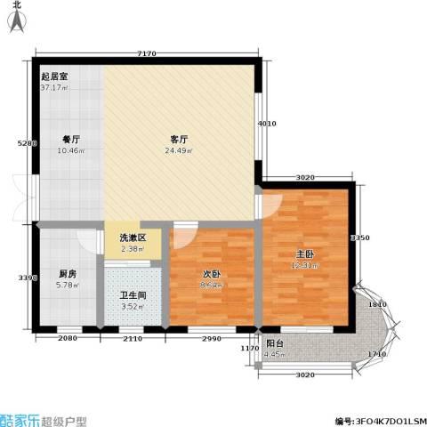 鹦鹉花园(五期)2室0厅1卫1厨82.00㎡户型图