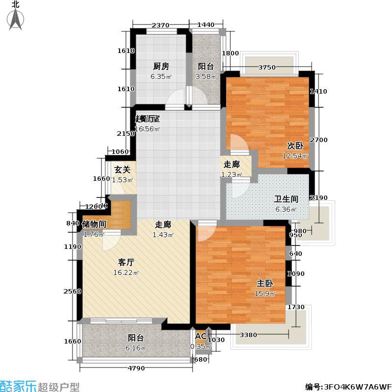 翠临星园(彭浦十期B块--1商品住宅)68.05㎡房型: 二房; 面积段: 68.05 -102.63 平方米; 户型