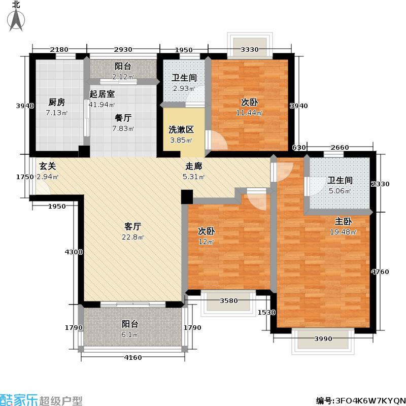 嘉利明珠城二期124.00㎡房型: 三房; 面积段: 124 -125 平方米; 户型