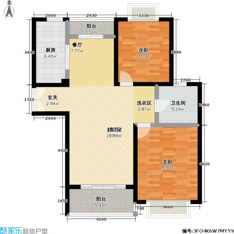 嘉利明珠城二期88.99㎡房型: 二房; 面积段: 88.99 -97.69 平方米; 户型