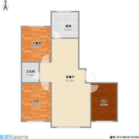 天富东苑3室1厅1卫1厨98.00㎡户型图