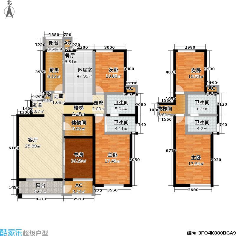 星河城204.36㎡五室两厅三卫户型