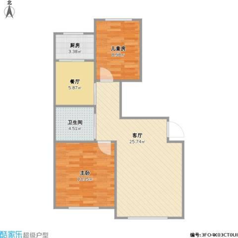 天富东苑2室2厅1卫1厨83.00㎡户型图