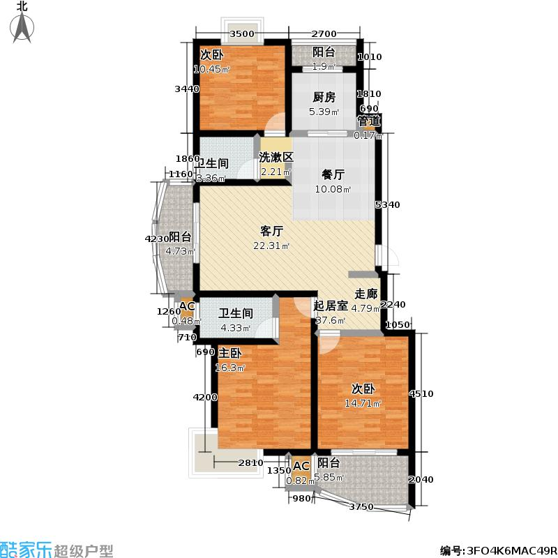龙汇公寓117.55㎡房型: 三房; 面积段: 117.55 -126.79 平方米;户型