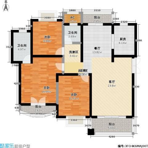 宝宸共和家园一街坊3室0厅2卫1厨120.00㎡户型图