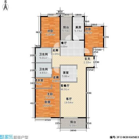 檀宫秀府3室1厅2卫1厨132.00㎡户型图