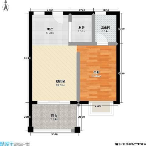 吉粮康城1卫1厨56.00㎡户型图