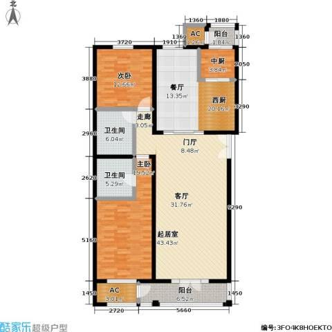 海开天秀花园二期2室0厅2卫0厨148.00㎡户型图