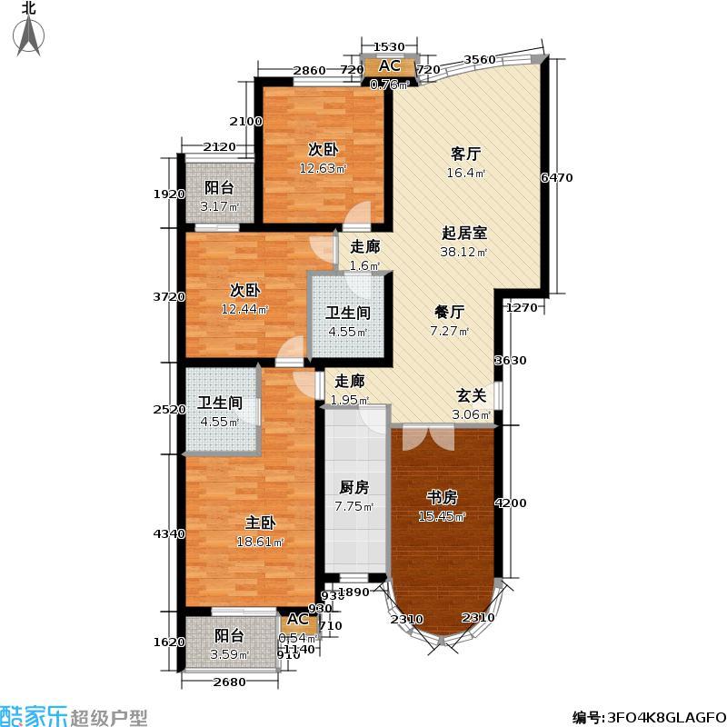 世嘉丽晶138.05㎡4室 2厅 2卫 1厨 138.05平方米户型