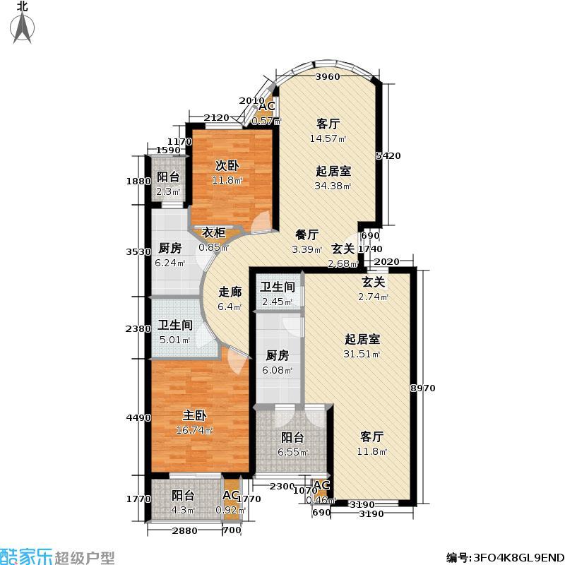 世嘉丽晶135.74㎡3室 3厅 2卫 2厨 135.74平方米户型