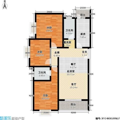 格瑞雅居3室0厅2卫1厨126.00㎡户型图