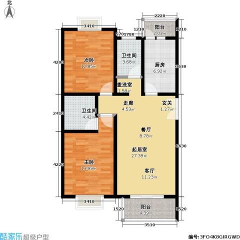 格瑞雅居2室0厅2卫1厨103.00㎡户型图