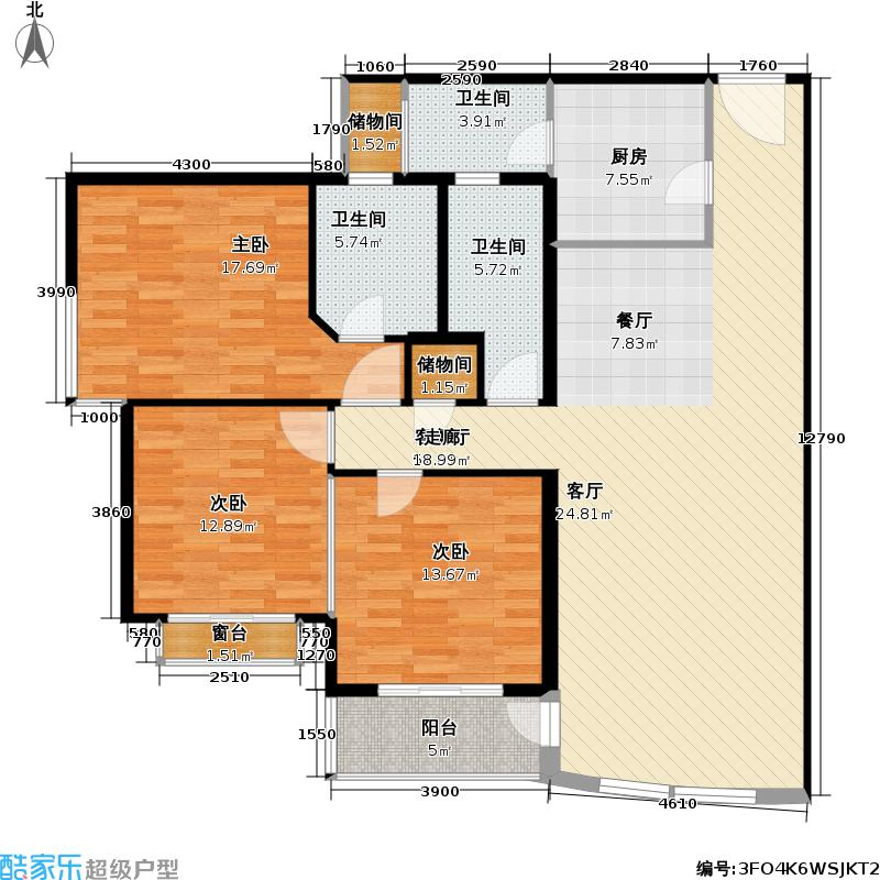 富仕名邸的南北户型3室1厅3卫1厨