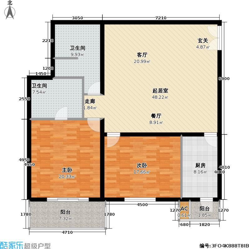 国展・国际134.82㎡2室-1厅-2卫-1厨户型