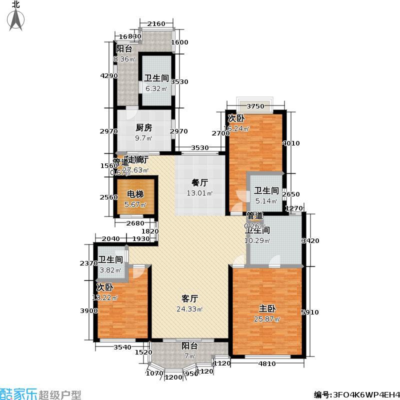 世茂湖滨花园二期房型户型3室1厅4卫1厨