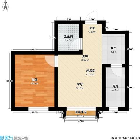 悦城・红光秀苑1室0厅1卫1厨52.00㎡户型图