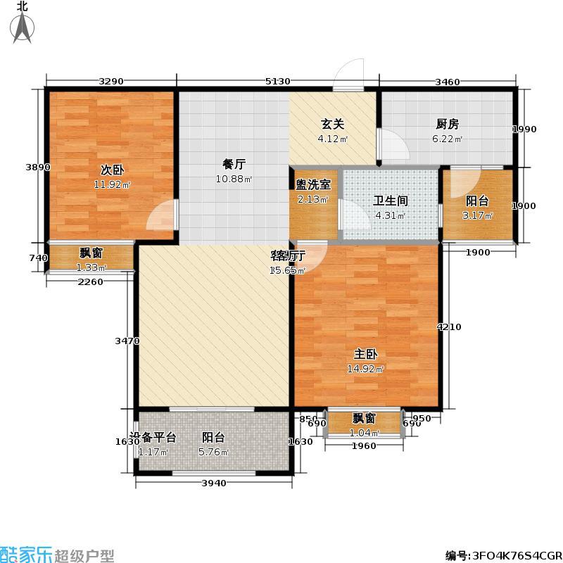 金光大道二期文昌花园88.00㎡金光大道Ⅱ期 A4户型 2室2厅1卫户型