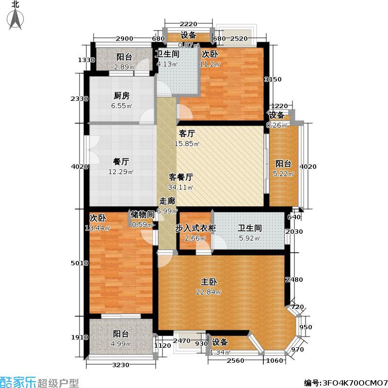 东方城市花园一期135.00㎡房型: 三房; 面积段: 135 -192 平方米; 户型