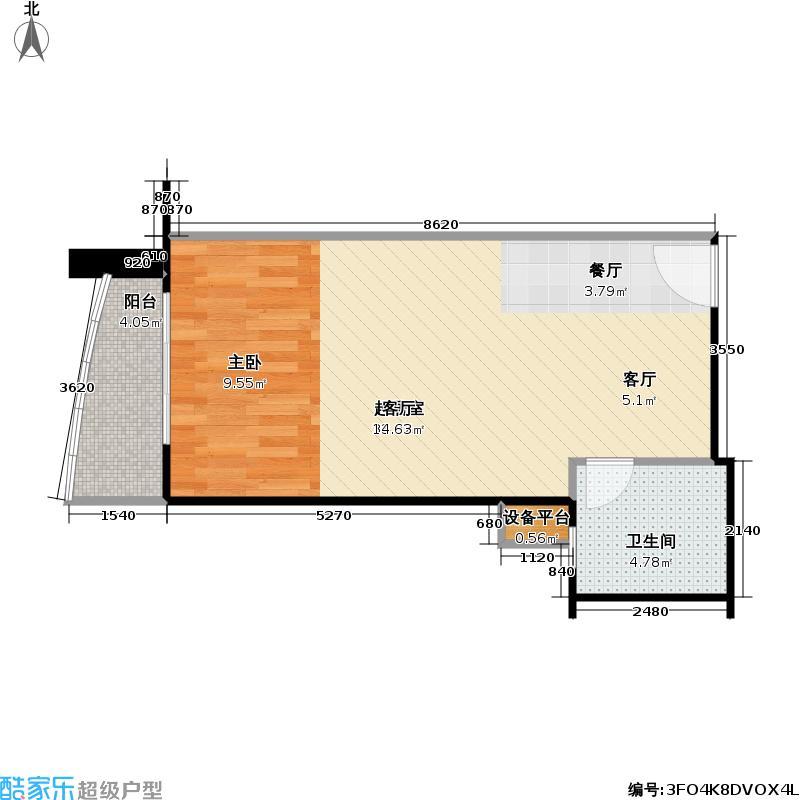 远中悦麒会馆59.49㎡A6户型一居室户型