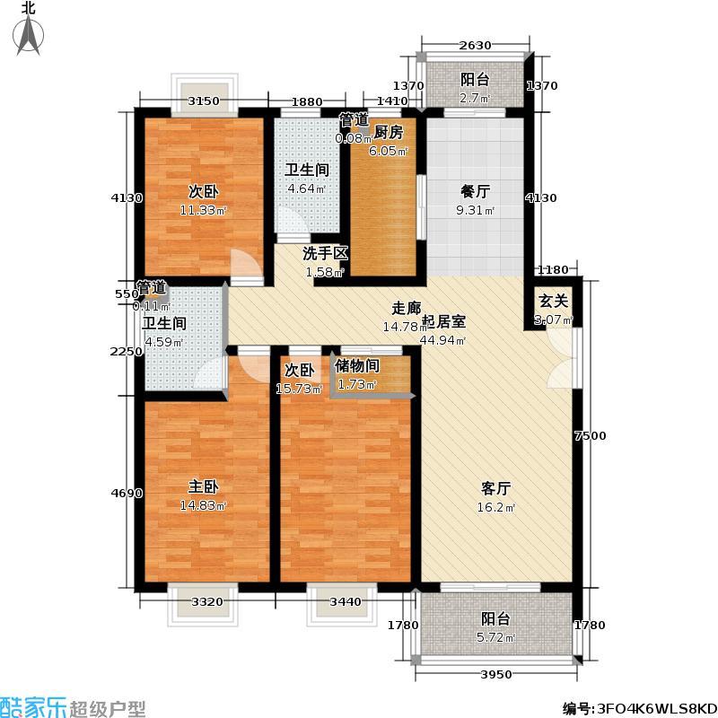 东方城市华庭房型户型3室2卫1厨