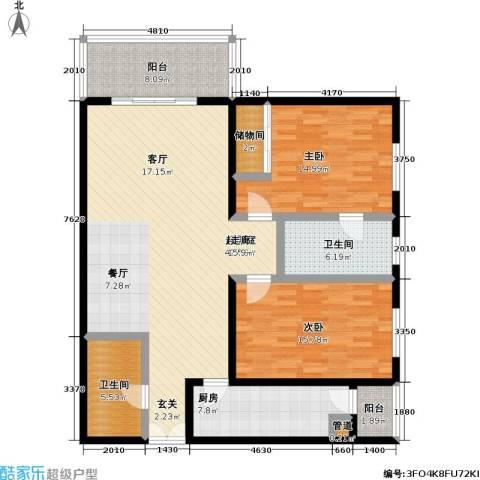 国展家园2室0厅2卫1厨121.00㎡户型图