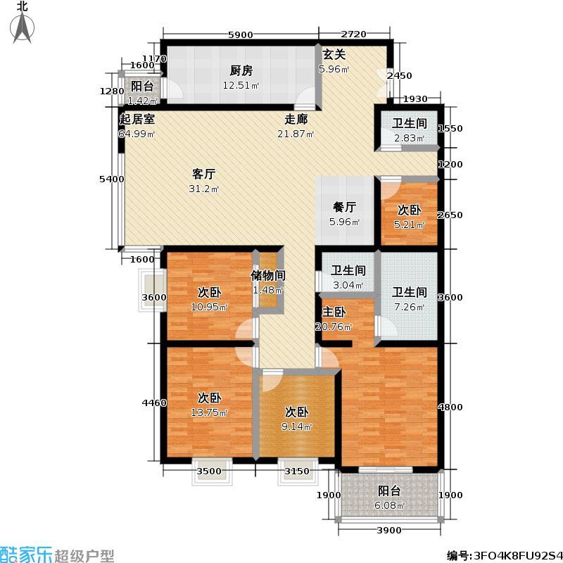 国展家园230.78㎡四室二厅三卫户型