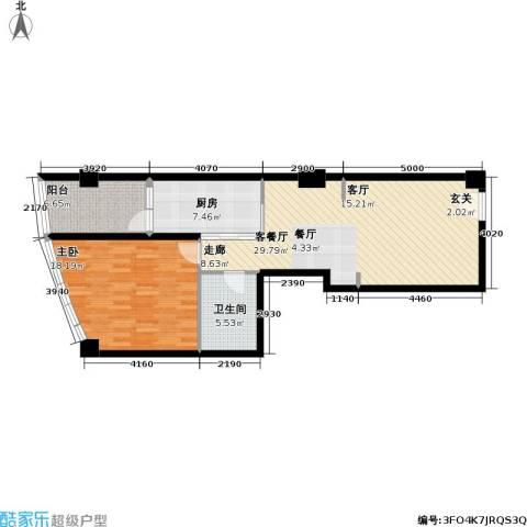 公馆771室1厅1卫1厨77.00㎡户型图