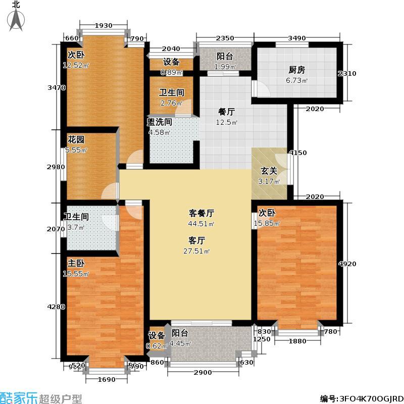 华飞公寓133.00㎡房型: 三房; 面积段: 133 -156 平方米; 户型