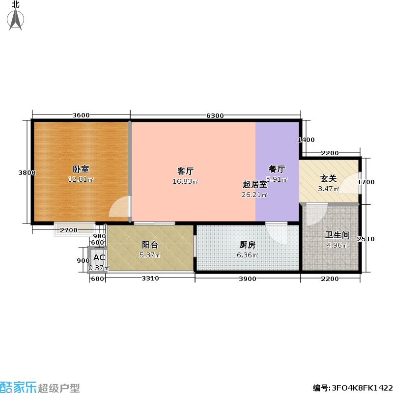 润景家园63.59㎡1室1厅1卫户型