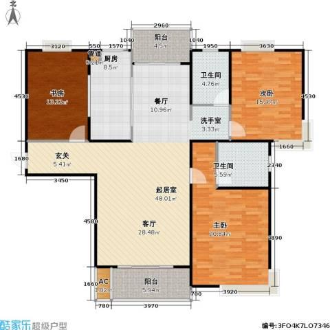 桃源兴城苑(二期)东块3室0厅2卫1厨128.06㎡户型图