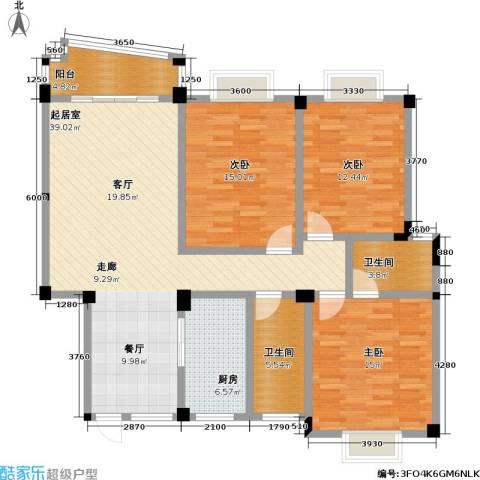 桃花岛城市花园(三期)3室0厅2卫1厨102.18㎡户型图