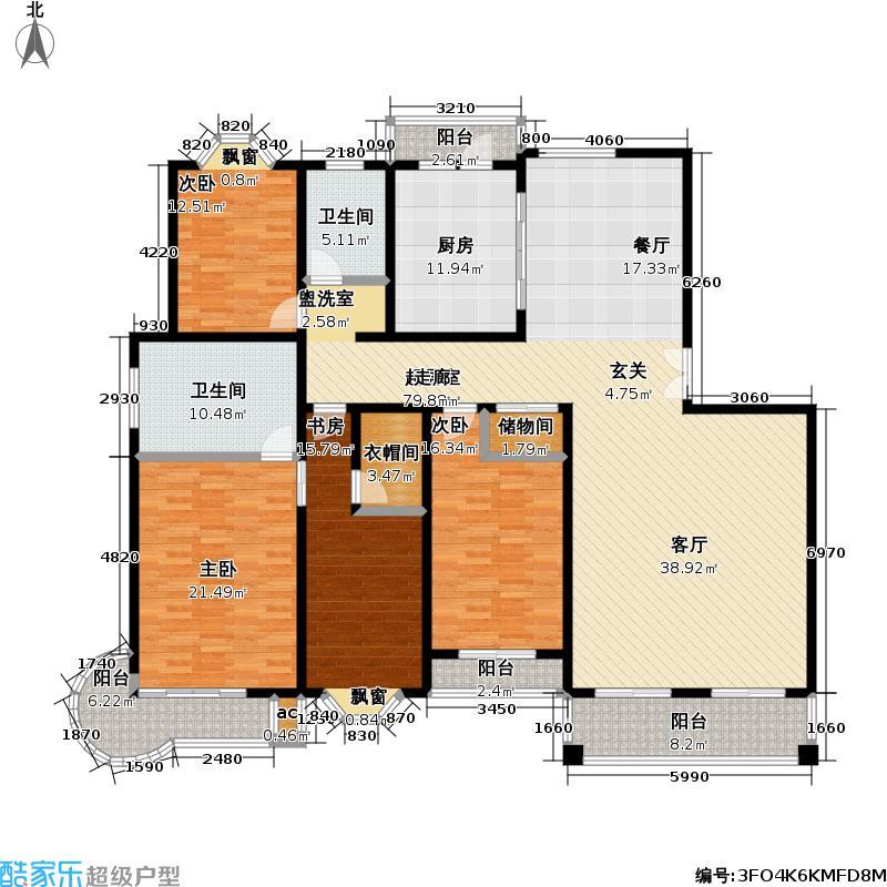 虹桥花苑三期215.00㎡房型: 四房; 面积段: 215 -216 平方米;户型