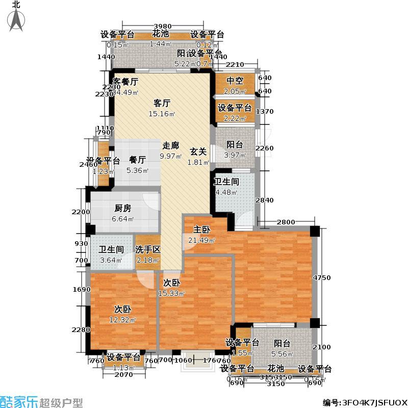 怡心苑3房2厅2卫143.56平米三房户型
