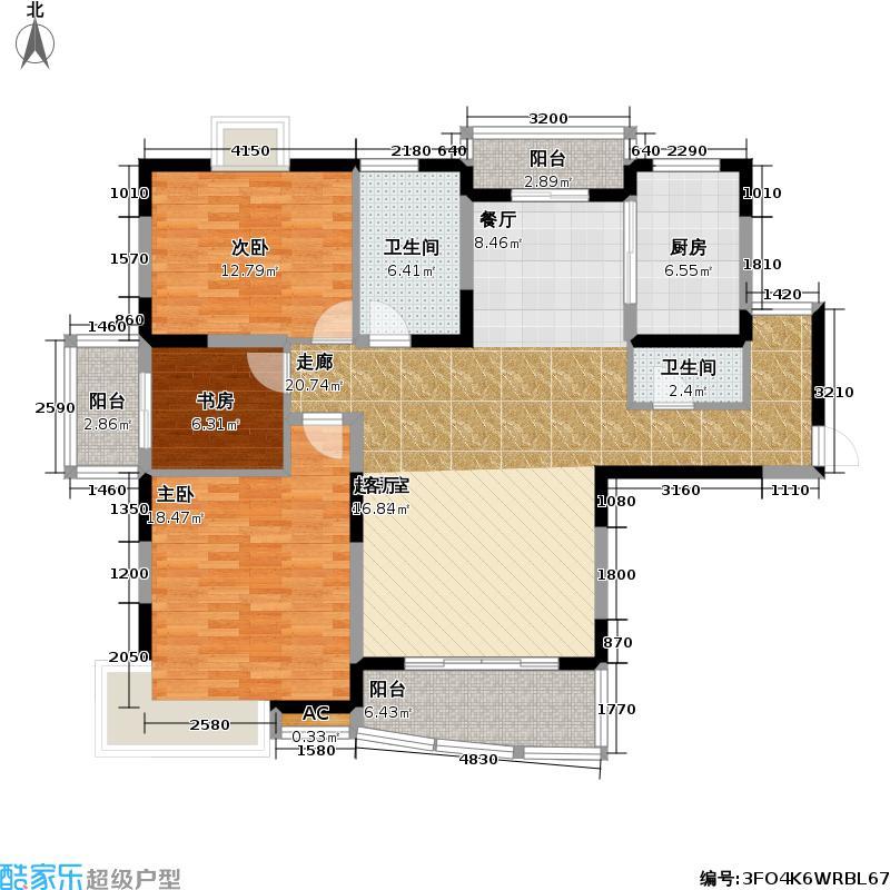 嘉和花苑四期房型户型3室2卫1厨