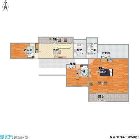 世纪锦城3室1厅2卫1厨134.00㎡户型图