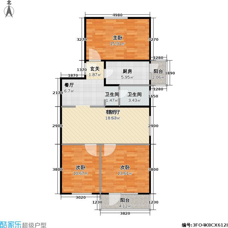 建东苑小区90.91㎡3室1厅1卫户型
