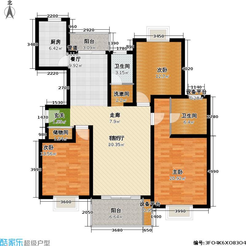 三湘华亭新苑110.00㎡房型: 三房; 面积段: 110 -140 平方米; 户型