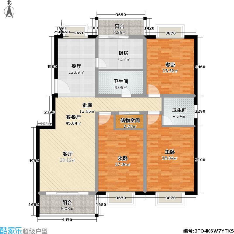 申地公寓二期118.00㎡房型: 三房; 面积段: 118 -154 平方米; 户型