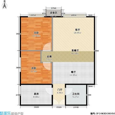 西成忆树2室1厅1卫1厨108.00㎡户型图