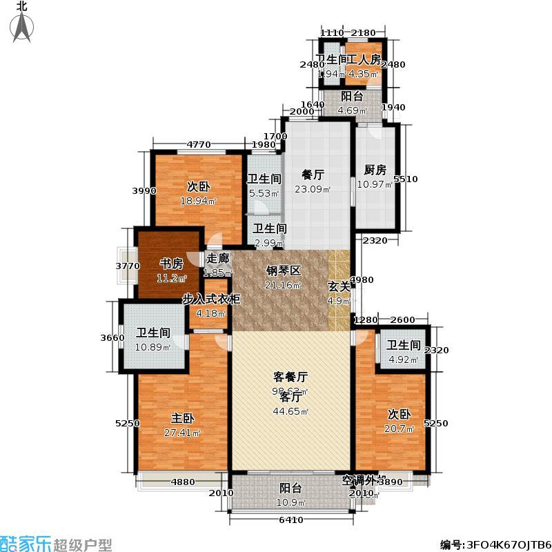 九龙仓繁华里263.00㎡D1户型93平米4室3厅4卫户型4室3厅4卫