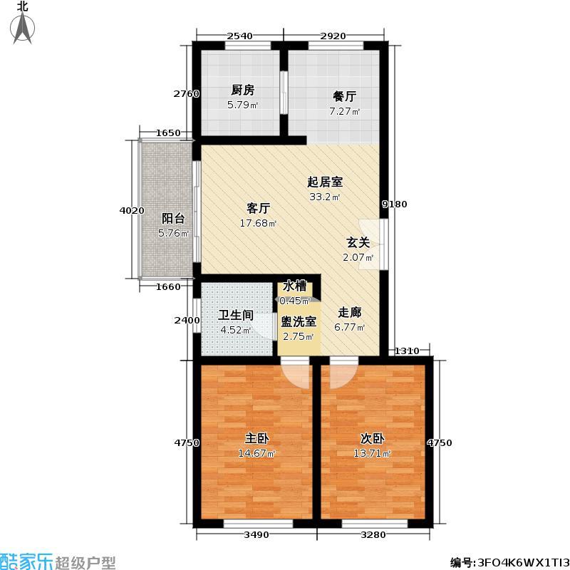 联鑫虹桥苑一期房型: 二房; 面积段: 90.56 -108.96 平方米; 户型
