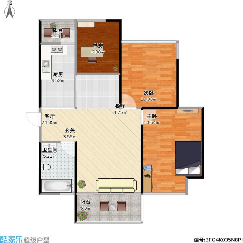 D1C3房两厅一卫