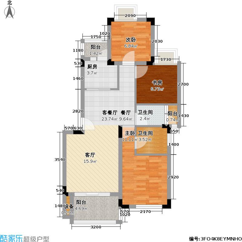 融汇半岛一期三房二厅二卫77平方米户型