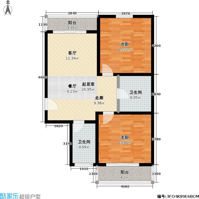珠江温泉花园78.53㎡二室一厅户型