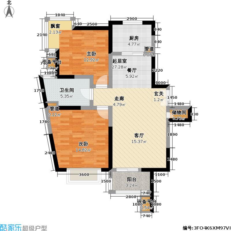 浦发广场95.45㎡房型: 二房; 面积段: 95.45 -99.8 平方米; 户型
