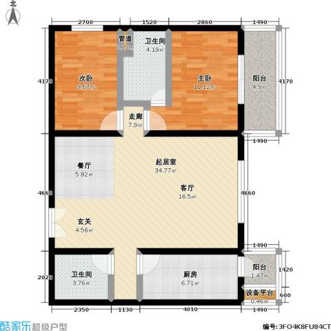 国展家园2室0厅2卫1厨90.00㎡户型图