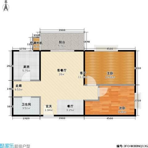 兴琦家园2室1厅1卫1厨76.00㎡户型图