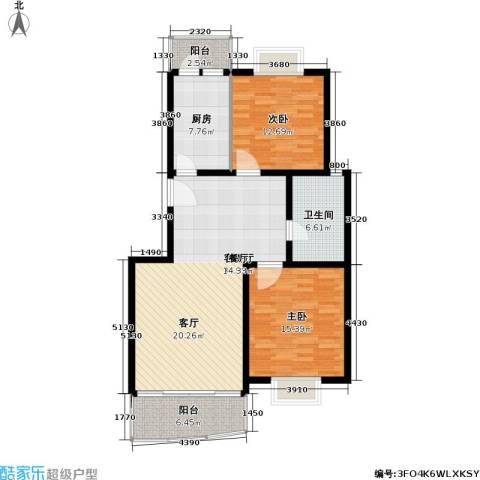 金桥新城一期2室1厅1卫1厨91.00㎡户型图