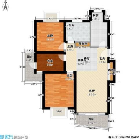 金桥新城一期3室1厅1卫1厨115.00㎡户型图