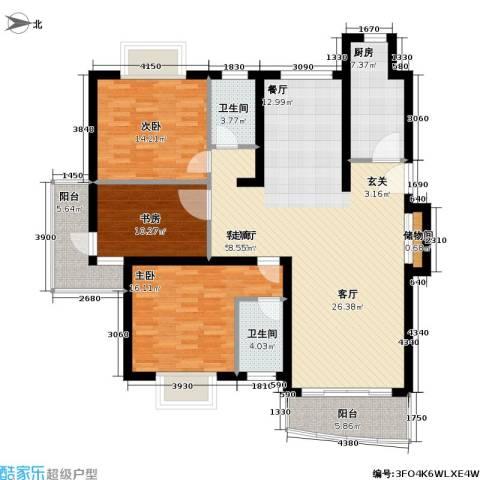 金桥新城一期3室1厅2卫1厨119.02㎡户型图